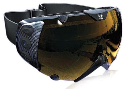 Очки для лыжников и сноубордистов с GPS и дисплеем отображающим информацию