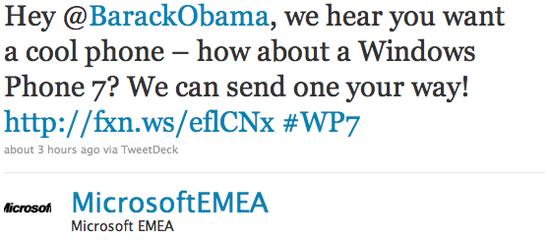 Microsoft предложила Обаме телефон с Windows Phone 7