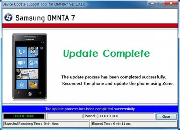 Обновляем Windows Phone 7 на Samsung Omnia 7 с помощью патча от производителя