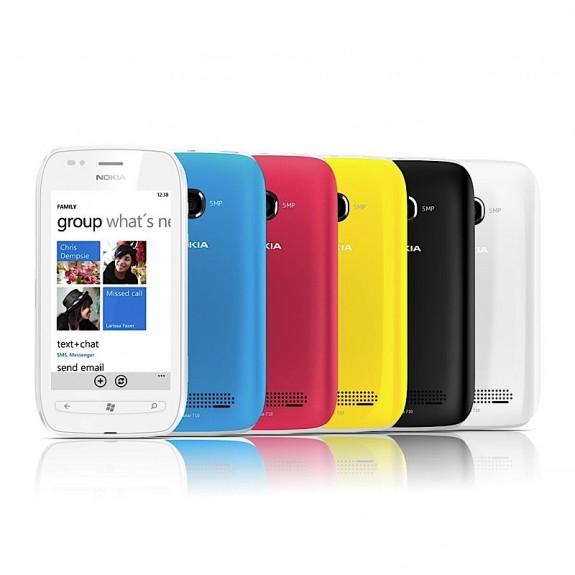 nokia lumia 710 в белом, голубом, красном, желтом и черном